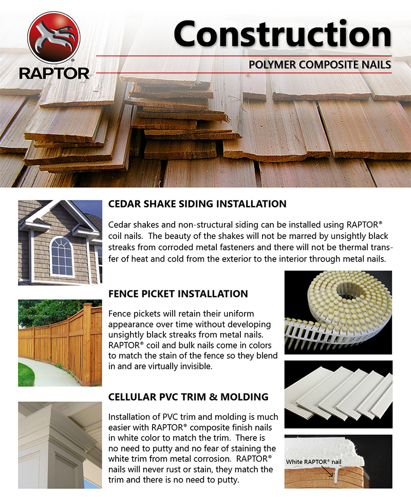 RAPTOR® Polymer Composite Nails & Staples -- Applications | for